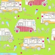 M Makower Transport - 3458 - Ice Cream Vans on Lime Green - 6782 G32 - Cotton Fabric